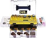 Lonamate - Juego de accesorios de 349 piezas multiusos para herramienta multifunción, accesorios universales fáciles de cortar, lijar, pulir, taladrar y grabar, con maletín de transporte