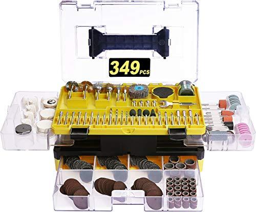 Zubehörset, Lonamate 349-teilig Mehrzweck Zubehörset für Multifunktionswerkzeug Universal Zubehör einfach zum Schneiden, Schleifen, Polieren, Bohren und Gravieren mit Tragekoffer