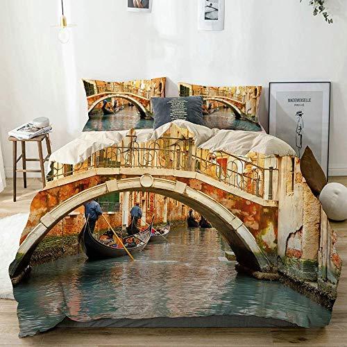 Juego de Funda nórdica Beige, Estampado de góndola del Antiguo Puente de Venecia, Juego de Cama Decorativo de 3 Piezas con 2 Fundas de Almohada