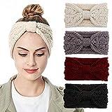 Womens Knitted Headband - Soft Crochet Bow Twist Hair Band Turban Headwrap...