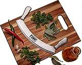 Mezzaluna Knife Pizza Rocker Cutter Blade Subway salad chopper 12' high carbon german blade Sharp Stainless Steel professional vegetable Slicer with Cover Guard