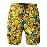 ZQHRS Pantaloni da Spiaggia Corti da Spiaggia per Uomo ad Asciugatura Rapida, in Pittura di paperella di Gomma Taglia M