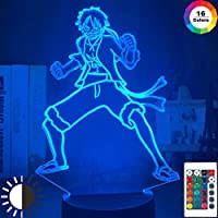 ワンピースモンキーDルフィフィギュア3DイリュージョンナイトライトLEDタッチセンサー常夜灯子供の寝室の装飾クールテーブルランプアニメ