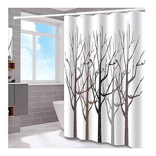 William 337 WYZ douchebak badkamer waterdicht 100% polyester badgordijn Simple Tree decoratie voor badkuip en douchegordijn