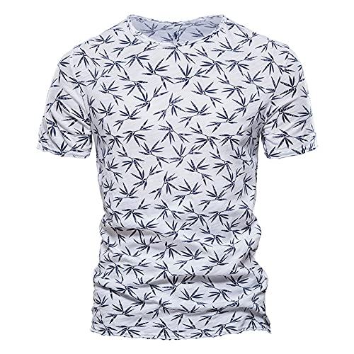 Correr Shirt Hombre Verano Cuello Redondo Ajuste Regular Moderno Hombre Camiseta Moda Estampado Manga Corta Deportiva Camisa Básica Funcional Shirt Causal Vacaciones Playa Shirt I-White 2 L