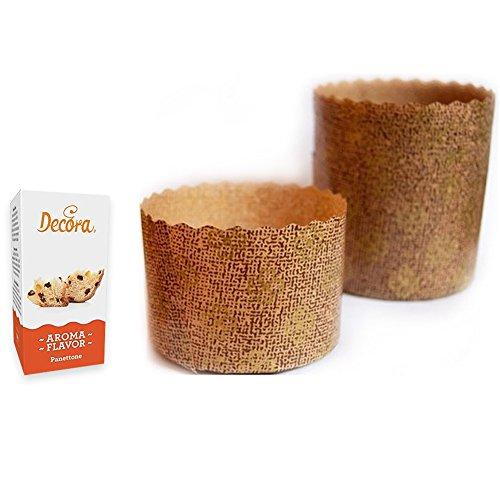 ZeusParty Kit 10 STAMPI PANETTONE da 750 gr + Aroma di PANETTONE - Forme Canasta in Carta Forno Natale Dolci