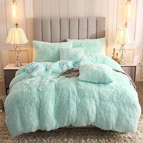 Uhamho Faux Fur Velvet Fluffy Bedding Duvet Cover Set Down Comforter Quilt Cover with Pillow Shams, Ultra Soft Warm and Durable (King, Aqua)
