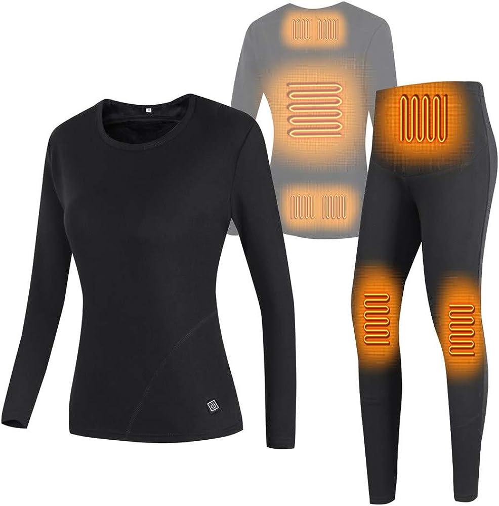 LJJ USB Heated Thermal Underwear Set for Women, Heated Clothing Underwear