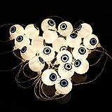 Catena di luci a LED per occhi 3D, per Halloween, 3 m, 20 LED, per Carnevale, alimentazione a batteria, decorazione per feste all'aperto, luce bianca calda