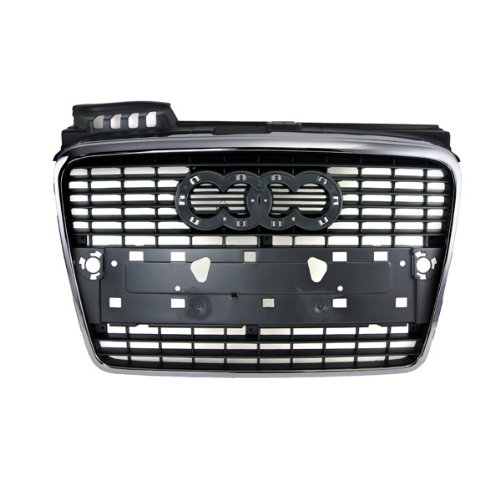 CarPartsDepot, Front Upper Matte Black Grille With Chrome Trim, 400-113076 AU1200112 8E0853651J1QP