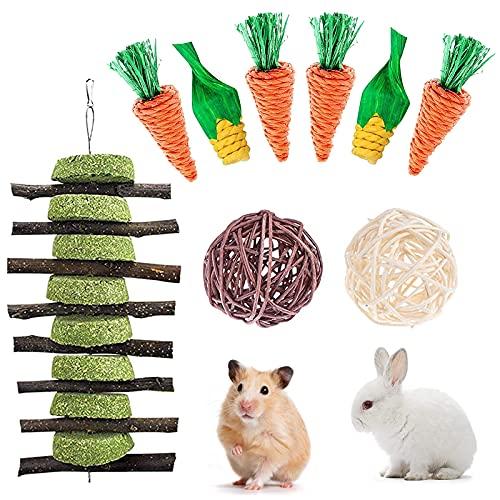 FINEVERNEK Juguetes para Animales Pequeños, Juguetes Conejos, Pastel de Hierba Natural, Juguete Cobaya para Dientes de Molienda para Conejos, para Conejos, Chinchillas, Hámsters, Cobayas, 9PCS