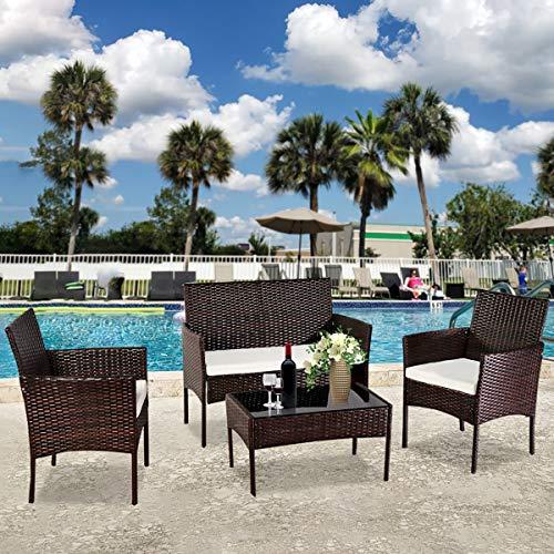 MINMIN Juego de muebles de jardín de polirratán para 4 personas, muebles de balcón, juego de muebles de jardín, 4 piezas, 2 sillones, sofás y mesa, juego de muebles para patio trasero
