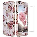 ZXK CO iPhone 8 Hülle Blumen, iPhone 7 Hülle 360 Grad mit Panzerglas, 3 in 1 Hart PC Hülle mit Panzerglas Full Body Komplettschutz Schutzhülle für iPhone 7/8 4,7'-Rosa Rosenblüten