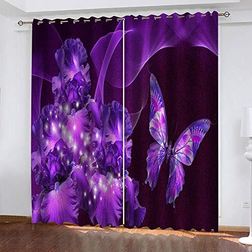 SFALHX Blackout Eyelet Curtains Purple butterfly Kids Blackout Curtains...