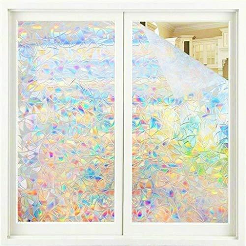 FeiliandaJJ 2 Stück Fensterfolie Selbsthaftend Blickdicht [45x100cm] 3D Regenbogen Sichtschutzfolie Fenster Tür Dekofolie Für Zuhause Bad Schlafzimmer - Regenbogeneffekt Unter Sonnenschein (Bunt)
