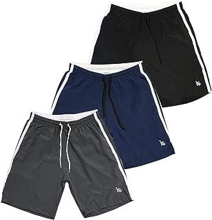 Kit 3 Bermudas Esporte Treino Academia Tactel c/Elastano Cós de Elástico Bolsos Laterais KIT-3-099