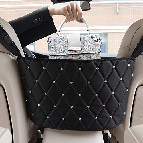 SEAMETAL Auto Netztasche Handtaschen, Bling Aufbewahrungstasche zwischen Autositzen Car Net Pocket Handbag Holder Handtaschen/Snacks/Wallets/Getränke/Handys aufbewahren für Auto und LKW-Schwarz