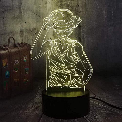 Lámpara de ilusión 3D Luz de Noche Led Japón Anime One Piece Monkey D. Luffy 7 Colores Lámpara de Escritorio Decoración de Dormitorio Niño Cumpleaños Juguetes para niños