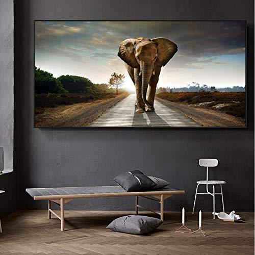 KWzEQ Cartel de Altura de Elefante Africano Moderno e impresión Mural Imagen Animal decoración del hogar,Pintura sin Marco,60x120cm