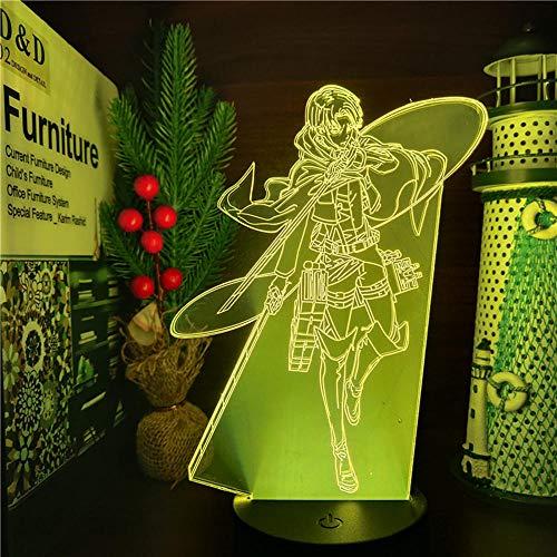 Attack on Titan 3D Illusion Lámpara de mesa Novedad LED Nightlight Anime Comics Attack on Titan Dormitorio Decoración para el hogar Lámpara de noche con 16 cambios de color Niños Niños Regalos
