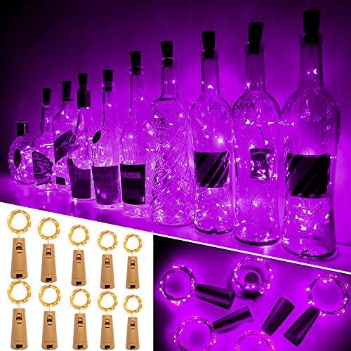 Luces Para Botellas, Ariceleo 10 Piezas 2 Metros 20 LED Cobre Alambre Luces Led para Botellas con Pilas, Corcho Lamparas Cadena Luz de Botella Decorativas Para Fiesta Boda Navidad DIY (Púrpura)