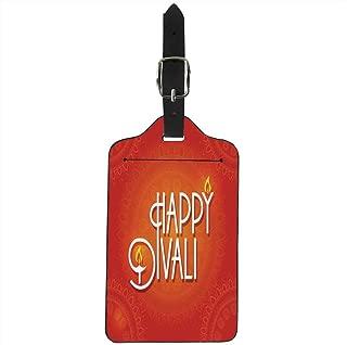 Diwali Decor Stylish Luggage Tag,Happy Diwali Wish Festive Celebration Candles Fires Paisley Backdrop Print for Suitcase Luggage Bag,2.7