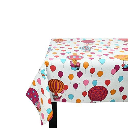 Fleur de soleil ~ Nappe Cirque Rose Coton Enduit 160x240