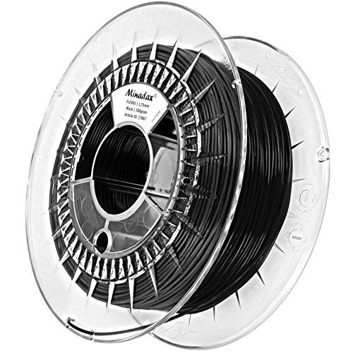 Minadax - Filamento flessibile per stampante 3D, 0,5 kg, 1,75 mm, ottima qualità, colore nero
