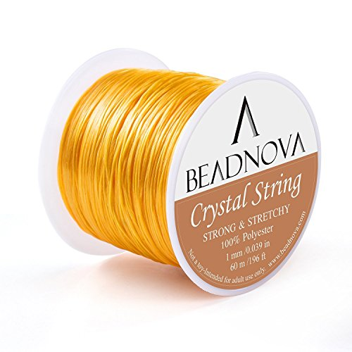BEADNOVA 1mm Elastic Stretch Polyester Crystal String Cord for Jewelry Making Bracelet Beading Thread 60m/roll (Golden Yellow)