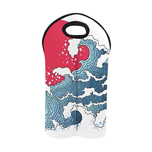 Beach Wine Tote Asiatische Illustration von Ocean Waves und Sun Wine Picknick-Tasche Doppelflaschenträger Weinflasche Geschenkbeutel Dicker Neopren-Weinflaschenhalter hält Flaschen