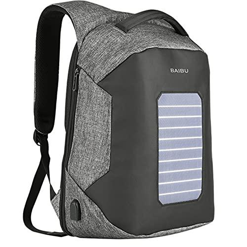 ANMJJ Mochila para Hombre, Mochila con EnergíA Solar, Mochila para Ordenador PortáTil De 15,6 Pulgadas con Carga USB Anti Robo, Mochila para Ordenador PortáTil,Gris