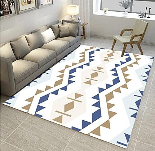 HJUYV-ERT Tappeti di Area per Soggiorno Tappeto Moderno Decorare la casa Tappetino Antiscivolo Rombo Blu Marrone Geometrico Bianco 80X160CM (2,6 Piedi x 5,2 Piedi)