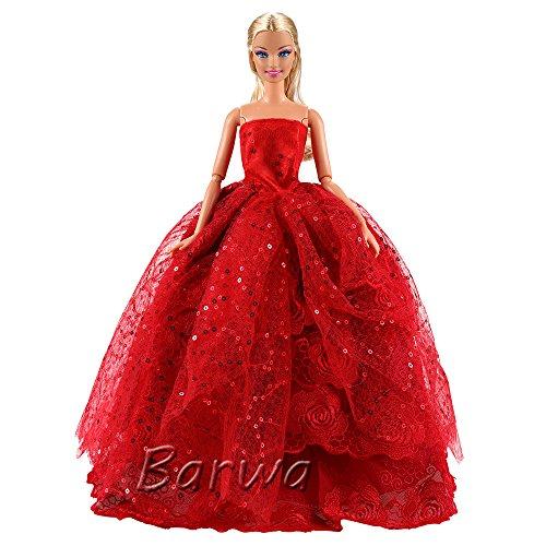 Barwa バービー人形用 服 1/6ドール用 人形用 アクセサリー ジェニー 服  手作り 洋服 人形 きせかえ プリンセスドレス お姫様 結婚式 (レッド)