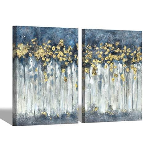 """Hand Painted Forest Paintings Wall Art: Navy Blue Forest Picture Canvas Hand Painted Birch Artwork Wall Art for Wall (18'' x 24"""" x 2 Panels)"""