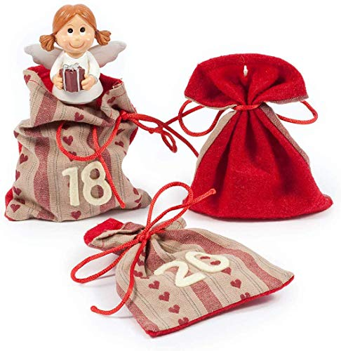 Pajoma, Calendario dell'Avvento con 24 sacchettini da riempire, Rosso (Rot)