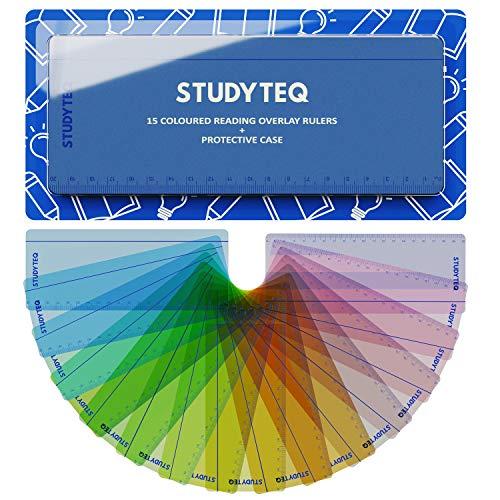 15 x Studyteq Lesestreifen in verschiedenen Farben - Lesehilfe bei Dyslexie ADHS oder visuellem Stress