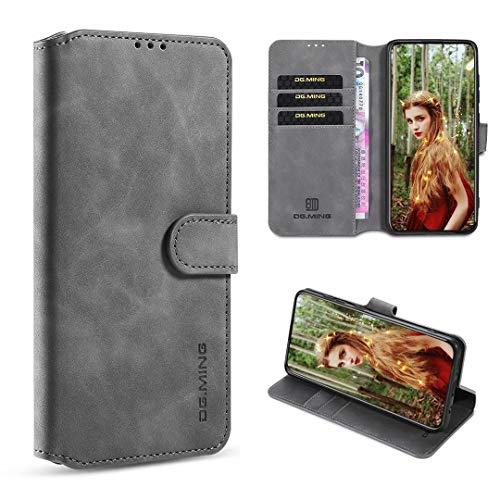 xinyunew Hülle Kompatibel mit Xiaomi Mi A2 lite Hülle,360 Grad Handyhülle + Panzerglas Premium Handy Schutzhülle Leder Wallet Tasche Flip Brieftasche Etui Schale (Grau)