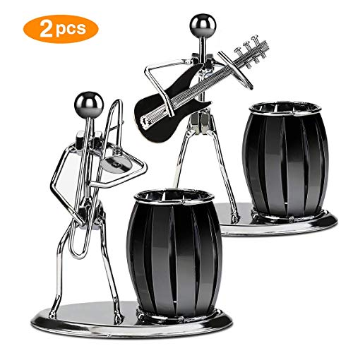 Intsun 2 Pack Music Decor Pen Holder for Desk - Creative Guitar & Trombone Pen Cup Holder Retro Metal Pencil Holder Desktop Accessories Pen Organizer for Home School Office Stationary