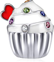 EMOSTAR Puppy Dog Paw Print Charms,925 Sterling Silver Pet Footprint Beads with Colorful Crystals, for Birthday Mothers Day Bracelets