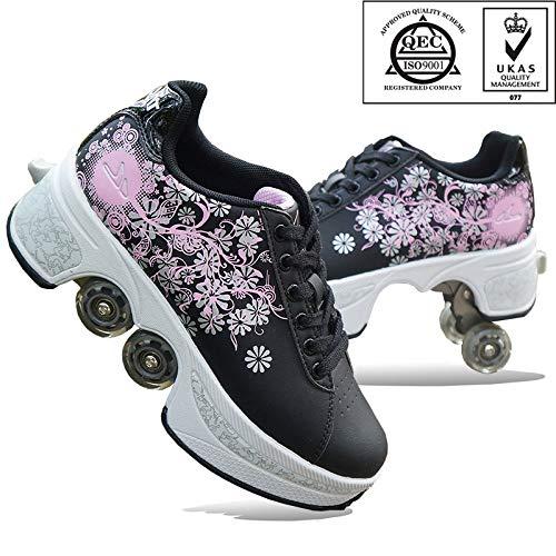 FGERTQW Unisexe Skates 2-in-1 Multifunktions 4-Rad Verstellbare Rollschuhe,Verstecktes Rad Für Laufsportschuhe Zum Spielen,Einstellbare Rollschuhe Für Skaten,Laufen,Black-36