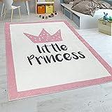 Paco Home Tapis Enfant Chambre Enfant Filles Tapis Bébé Lavable Princesse Inscription Rose, Dimension:120x160 cm