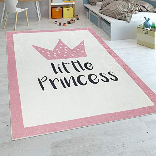 Paco Home Kinderteppich Kinderzimmer Mädchen Babyteppich Waschbar Prinzessin Spruch Rosa, Grösse:80x150 cm