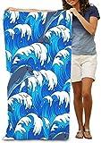 Houlipeng Toallas de playa toallas de baño para adolescentes niñas adultos toalla de viaje piscina y gimnasio, 76 x 127 cm, patrón de delfines azul tormentoso salto textil d
