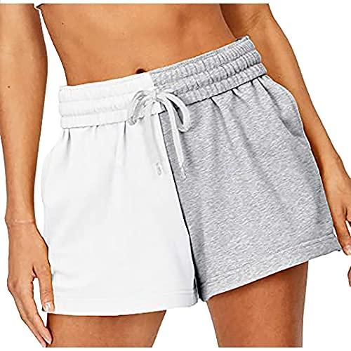 Pudyor Pantalones Cortos Deportivos con Costura de Color Liso para Mujer Shorts con Cordón Ajustables Pantalón Cortos de Deporte con Cintura Elástica Pantalones Cortos Transpirables