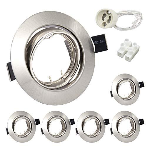 6er Set LED Einbaustrahler Rahmen GU10 Schwenkbar Rund 230V Edelstahl Gebürstet Einbaurahmen Deckenlampe Einbauspots inkl. Fassung für GU10 LED/Halogen