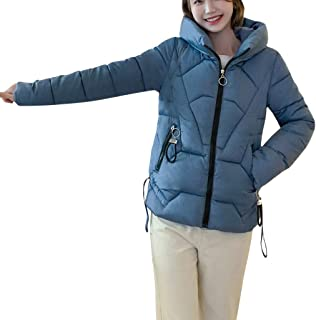 Funnygals - Ladies Womens Quilted Padded Puffer Bubble Fur Collar Warm Thick Jacket Hoodie Outwear Coat with Zip Pockets