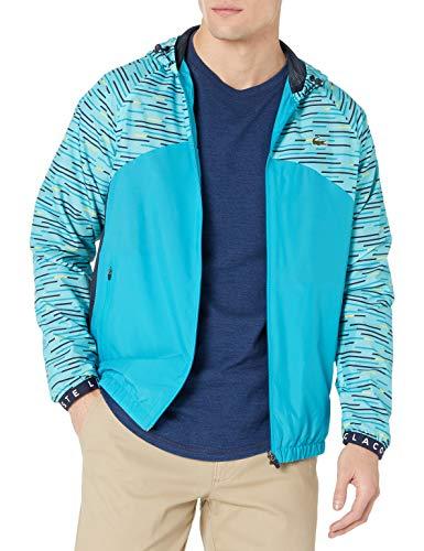 Lacoste Men's Sport All Over Print Full Zip Tennis Jacket, Haiti Blue/Navy Blue-Cuba-Lemon-White, S