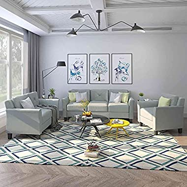 Tulib 3 Piece Living Room Sofa Set, Button Tufted Sectional Couch, One 3-Seat Sofa & Loveseat and Armchair, (1+2+3…