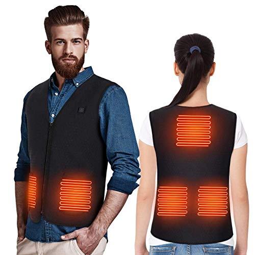 Doact uppvärmd väst jacka för män och kvinnor, elektrisk kroppsvärmare förgylld, värmekläder USB-laddning för terapi, under kall vinter utomhus motorcykel, vandring, skidåkning med 5 värmekuddar håller värmen inget batteri XXXL