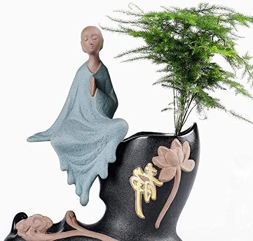 Escultura,Adornos Esculturas 2 Unids/Set Estatua De Buda Zen Estatuilla De Monje Esculturas Budista Cerámica Arte Y Artesanía Decoración del Hogar